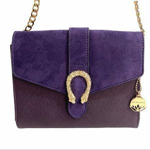 Big Buddha Purple Suede Clutch Crossbody Handbag